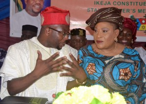 STAKEHOLDERS 2- Member, Lagos State House of Assembly, Hon. Adedamola Richard Kasunmu (left) and Southwest Woman Leader, APC, Chief (Mrs) Kemi Nelson during the Ikeja Constituency 2 Stakeholders Meeting held in Ikeja on Tuesday (10th November 2015).