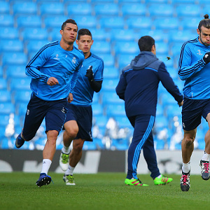 during a Real Madrid training session on the eve of their UEFA Champions League semi final first leg match against Manchester City at the Etihad Stadium on April 25, 2016 in Manchester, United Kingdom.