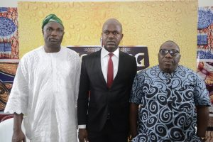 (L-R) Sikiru Ayinde Agboola (a.k.a SK Sensation), Chairman, National Project Committee of the Fuji Musicians Association of Nigeria; Emmanuel Agu, Portfolio Manager, Mainstream Lager & Stout Brands; Nigerian Breweries Plc; and Olawale Obadeyi, a notable Fuji analyst and Poet; at the maiden Fuji Roundtable, powered by Goldberg Lager Beer, an event held at the headquarters of NB in Lagos on Monday