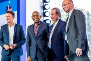 l-r: Session Moderator and Professor at European Business School (ESCP Europe), Frédéric Ferrer; and Chairman Heirs Holdings, Tony O. Elumelu CON; President & Managing Director ASEAN Business Advisory Council, Oudet Souvannavong; and   President of Proctor & Gamble Europe, Gary Combe,  at the Grand Opening of the 19th MEDEF Summer University, held in Paris, France on Tuesday.